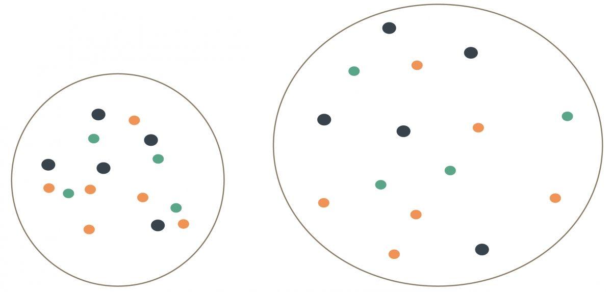 Abbildung 3. Ein einfaches Diagramm kann hilfreich sein, um Besitzern zu erläutern, auf welche Weise eine Harnverdünnung die Konzentration gelöster Stoffe reduziert und damit die Wahrscheinlichkeit einer Kristallbildung senkt. © Cecilia Villaverde/Redrawn by Sandrine Fontègne