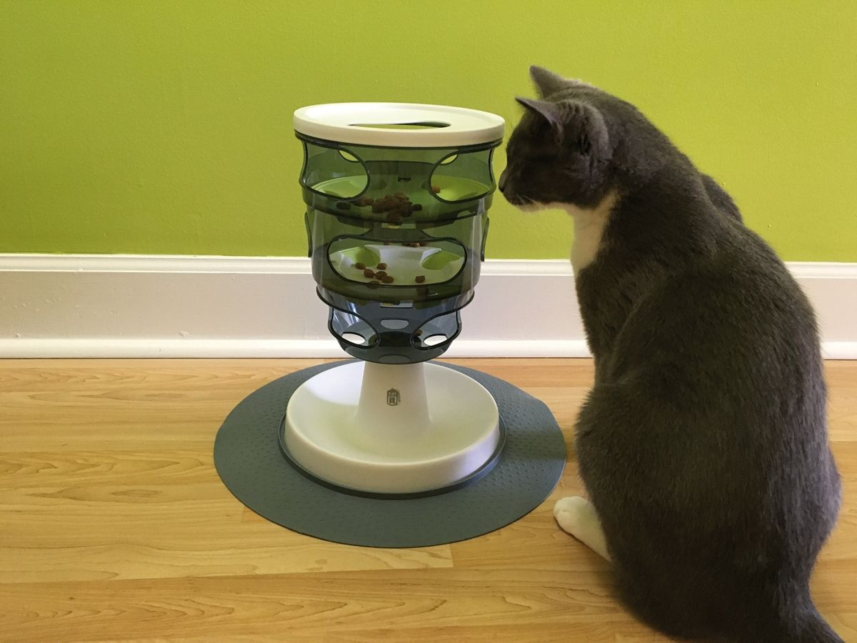 This stationary tower requires a cat to move food down through various levels using its paws before it can eat the kibble.