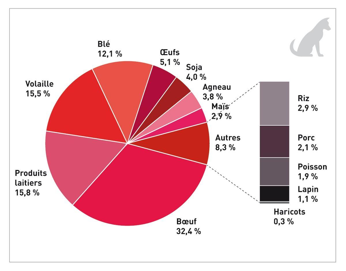 Ingrédients associés à des réactions alimentaires indésirables (RAI) chez des chiens, d'après 373 cas de RAI confirmés par un test de provocation alimentaire. Les données proviennent d'études réalisées sur au moins 5 chiens tandis qu'ont été exclues les études portant sur une RAI spécifique (par exemple, des chiens suspectés d'intolérance au poulet) (20) (21) (22) (23) (24) (25).