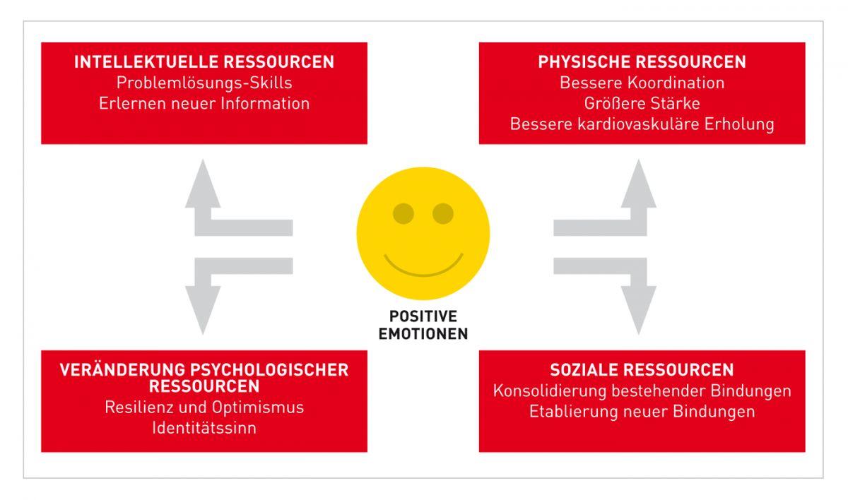 Broaden-and-Build-Theorie: positive Emotionen sind der Schlüssel für ein optimales individuelles und soziales Funktionieren ( 2 ).