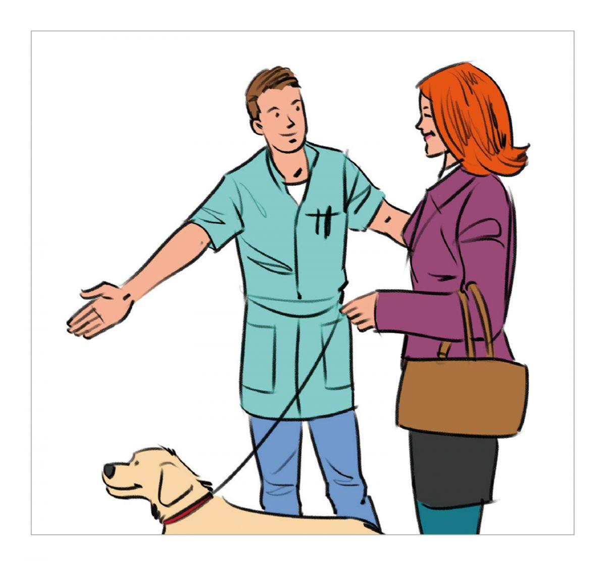 Kunden wollen den Tierarzt als Ihren Führer durch die Konsultation sehen, dem sie vertrauen, der sie durch die Untersuchungs- und Therapiereise begleitet und ihnen hilft, die richtigen Entscheidungen zu treffen.