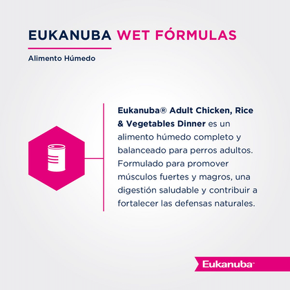 Eukanuba Lata Adult Chicken, Rice & Vegetables Dinner - Pollo, Arroz y Vegetales (Paté)
