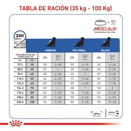 Tabla de ración Renal support S dog Colombia 3