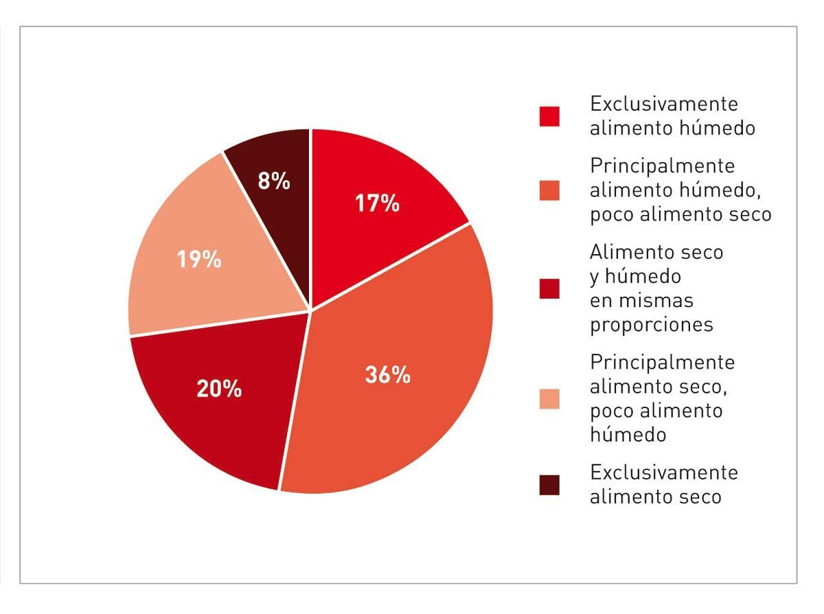 Los gatos de la encuesta recibían diferentes cantidades de alimento húmedo y seco, tal y como se muestra en el gráfico, el alimento húmedo incluye tanto a los alimentos comerciales como a los caseros.