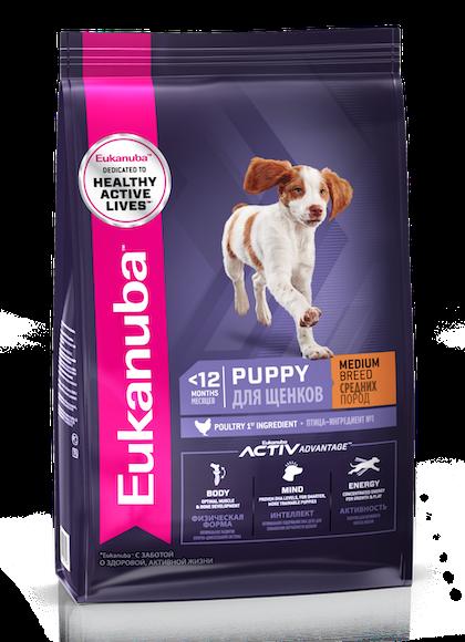 Eukanuba Puppy Medium Breed – 3D Left Justified –RUS